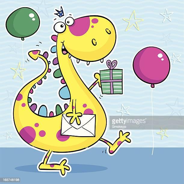 illustrations, cliparts, dessins animés et icônes de fête de dinosaure - un seul animal