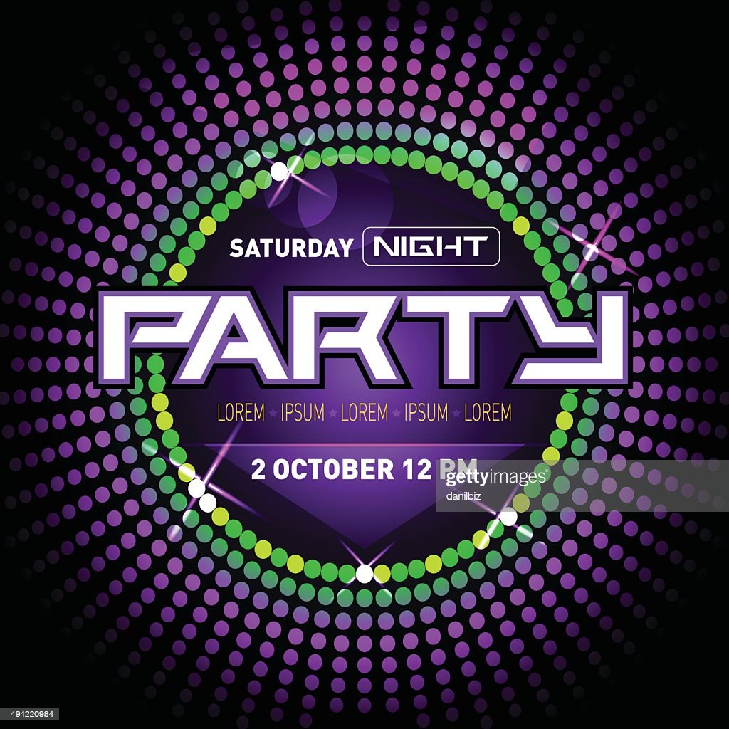 Party Disco Club Flyer Template For Your Music Nights Event Vector ...