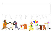 party dogs and cats border with speech bubble