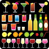 Party drink icons on black background