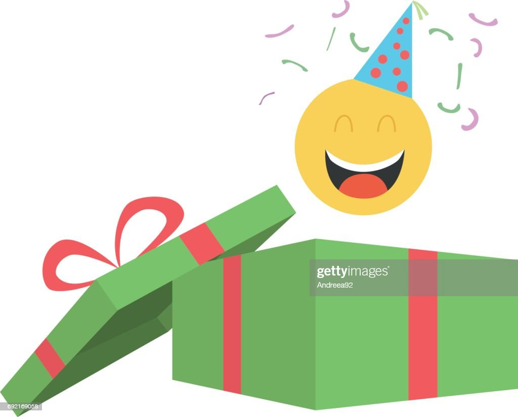 Party emoticon coming out of gift box - vector illustration