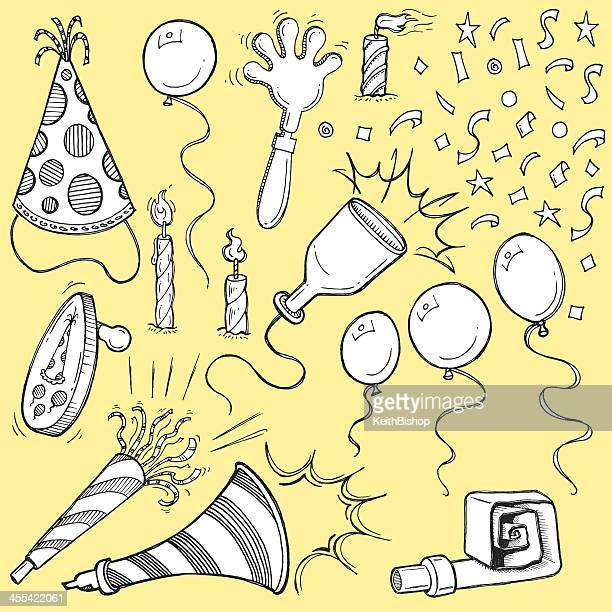 party favors - noise makers, candles, confetti, balloons - party blower stock illustrations