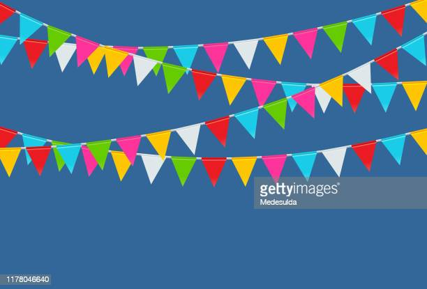 party flags vector - pennant stock illustrations