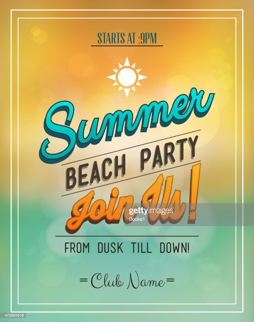 Party flyer about a summer-beach party