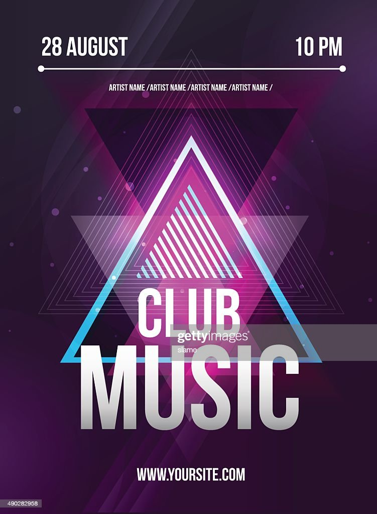Party Flyer. Club music flyer. Dj lineup design. Vector template