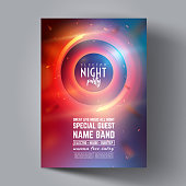 Party Flyer or Brochure Layout Template. Club Party Banner design.