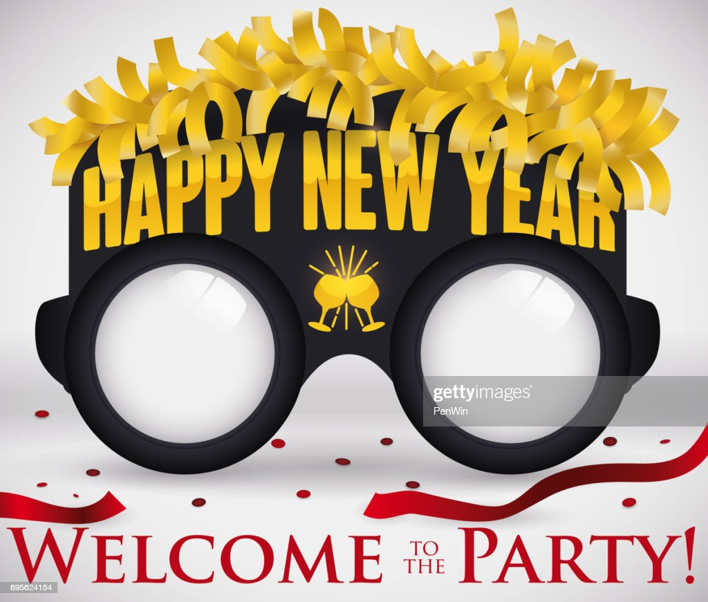 party glasses with golden streamers and confetti for new year vector art