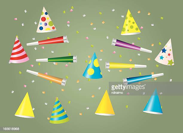 party hats and horns - party blower stock illustrations