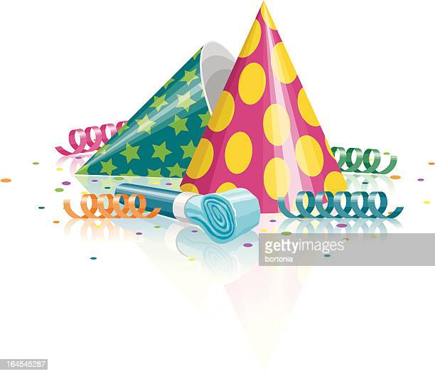 party hats, noisemaker, confetti and streamers - party blower stock illustrations