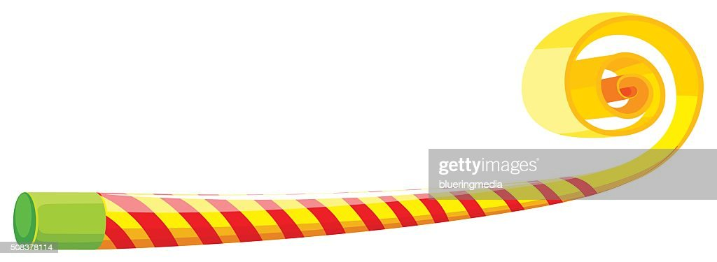 Party Horn With Yellow And Red Striped Stock Illustration - Getty Images