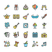 Party Icon Thin Line Set. Vector