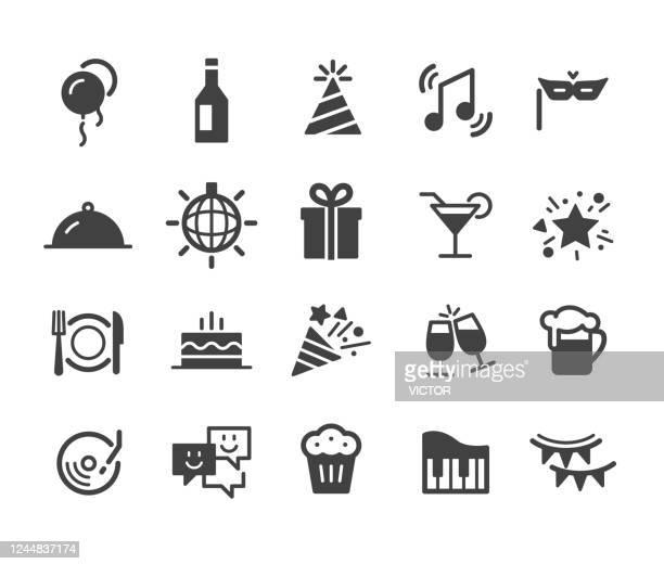 stockillustraties, clipart, cartoons en iconen met feesticonen - klassieke serie - feest