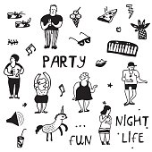 Party icons doodle set, funny design, vector  illustration