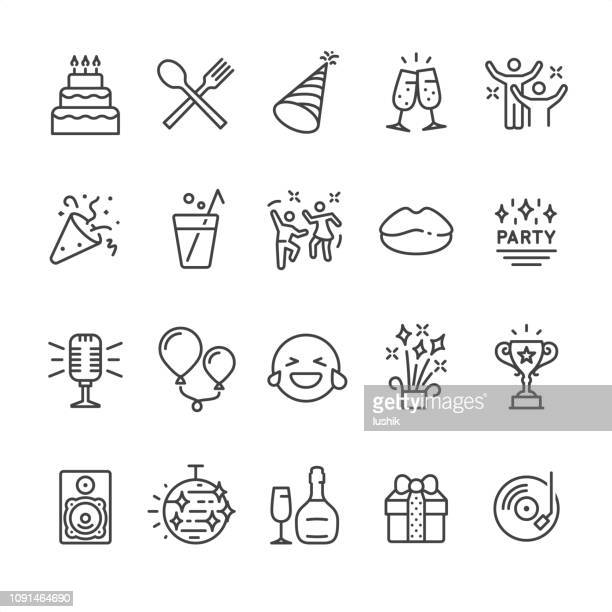 stockillustraties, clipart, cartoons en iconen met party pictogrammen - food and drink