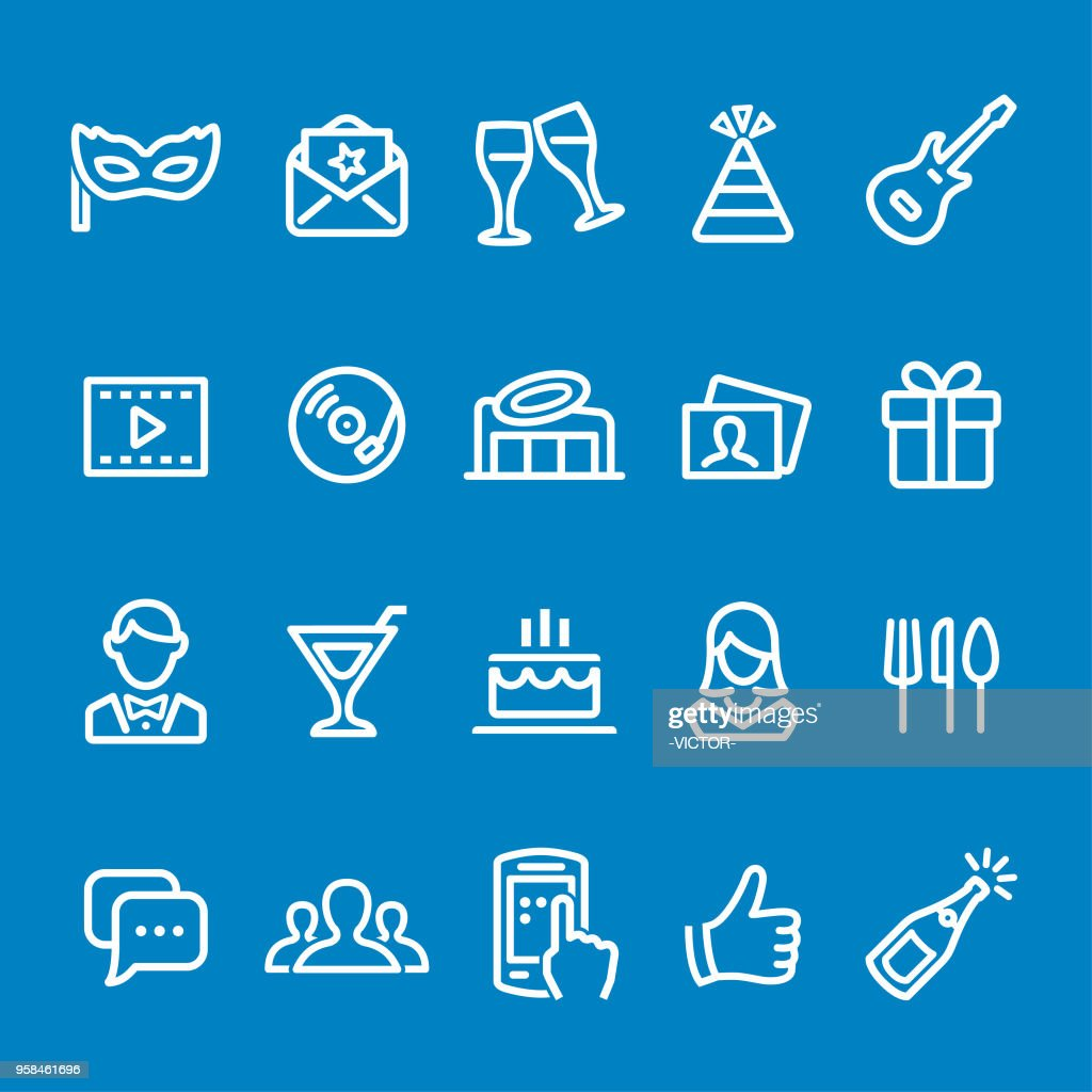Party Icons - Vector Smart Line Series : stock illustration