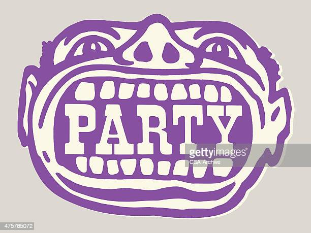 party in mouth of man - stag night stock illustrations, clip art, cartoons, & icons