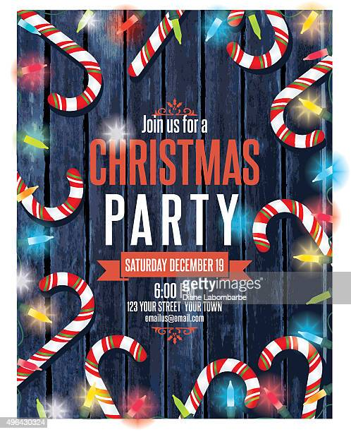 party invitation on wood with christmas lights and candy canes - flyer leaflet stock illustrations