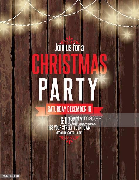 Party-Einladung auf Holz mit Christmas Lights und Zuckerstangen