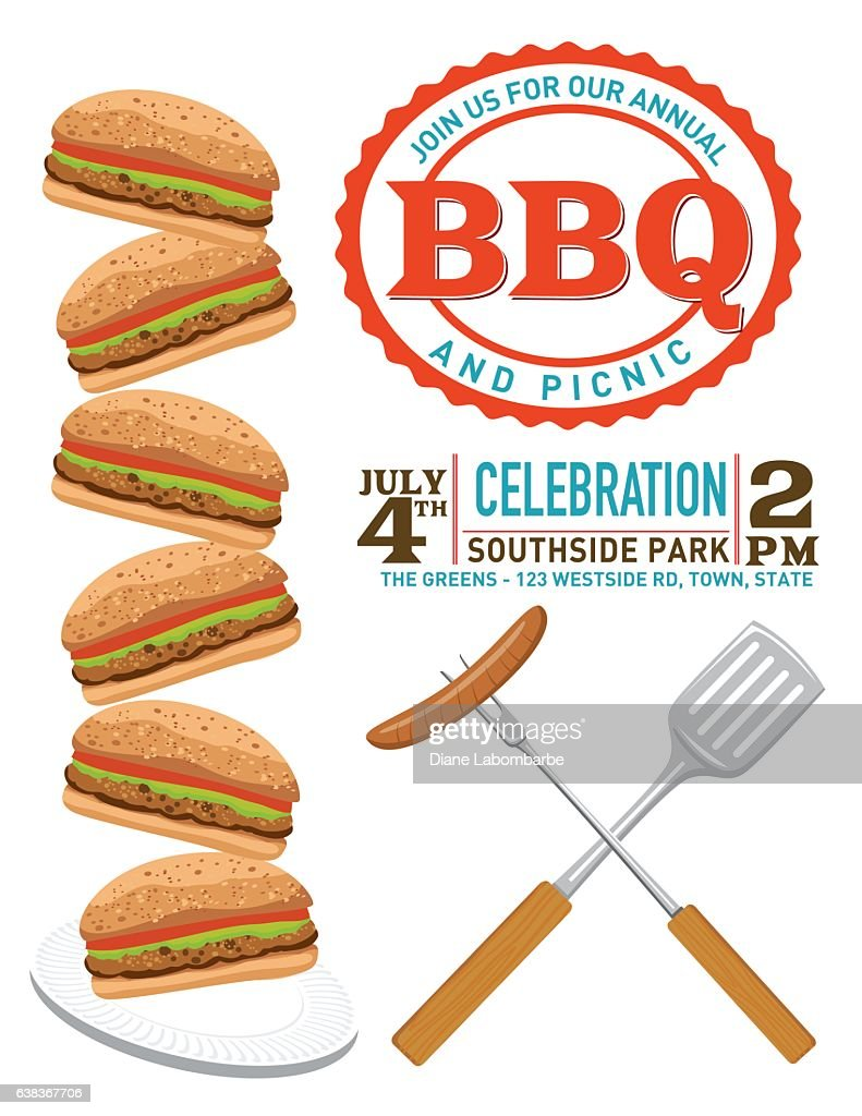 bbq party invitation template ベクトルアート getty images