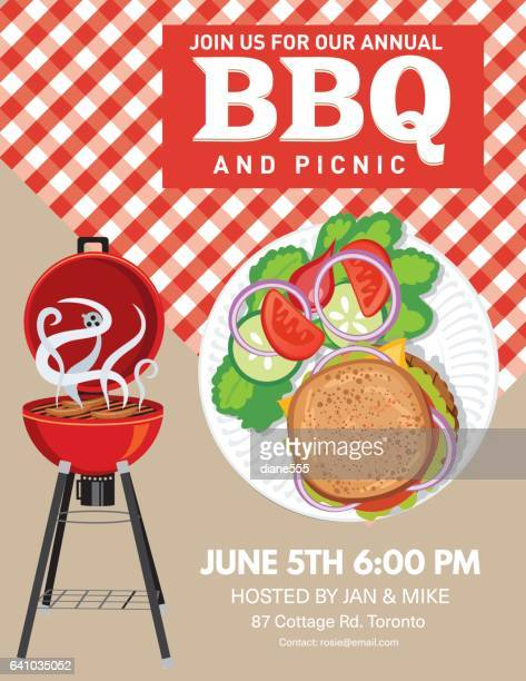 bbq party invitation template - tablecloth stock illustrations, clip art, cartoons, & icons