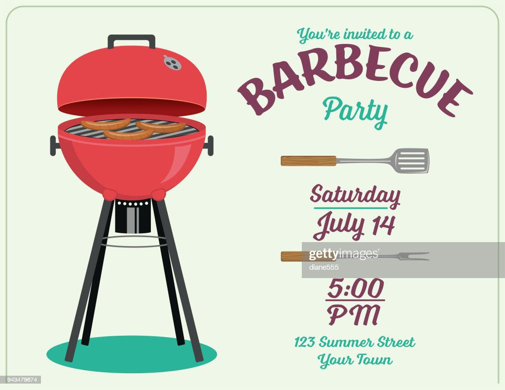 Bbq Party Invitation Template Vector Art Getty Images