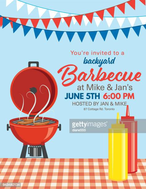 bbq party invitation template - picnic stock illustrations