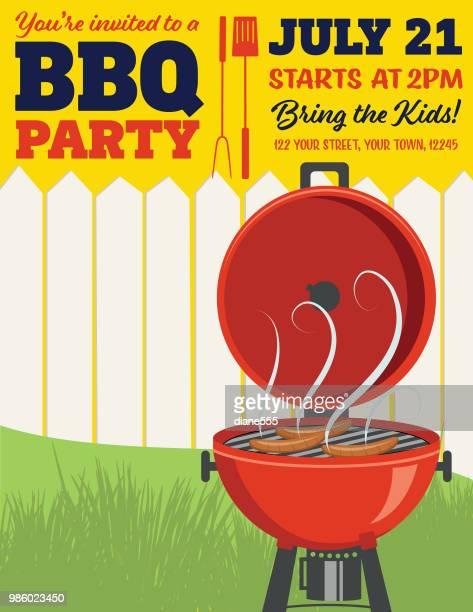 bbq party invitation template - hamburger stock illustrations, clip art, cartoons, & icons