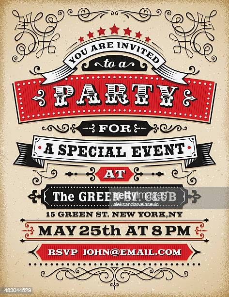 party invitation - retro style stock illustrations