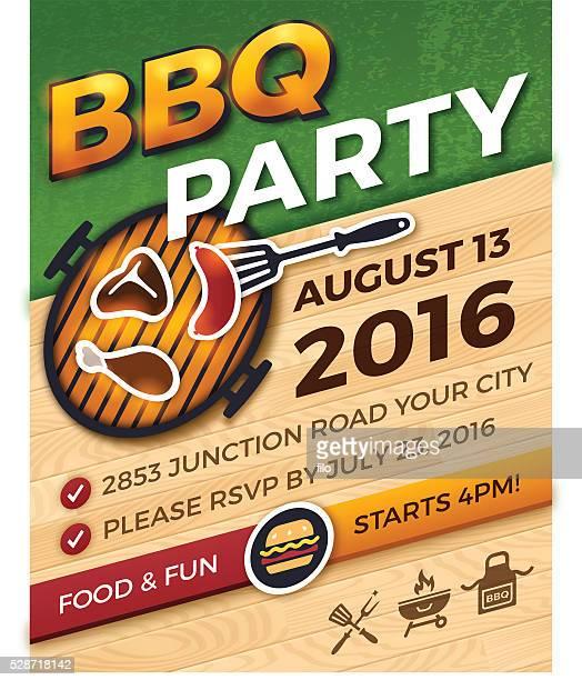 barbecue-party-einladung - bratwurst stock-grafiken, -clipart, -cartoons und -symbole
