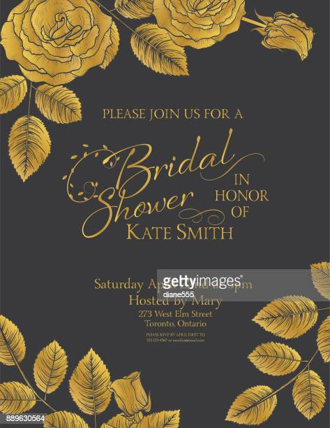 party invitation with gold metallic elements - rosa stock illustrations