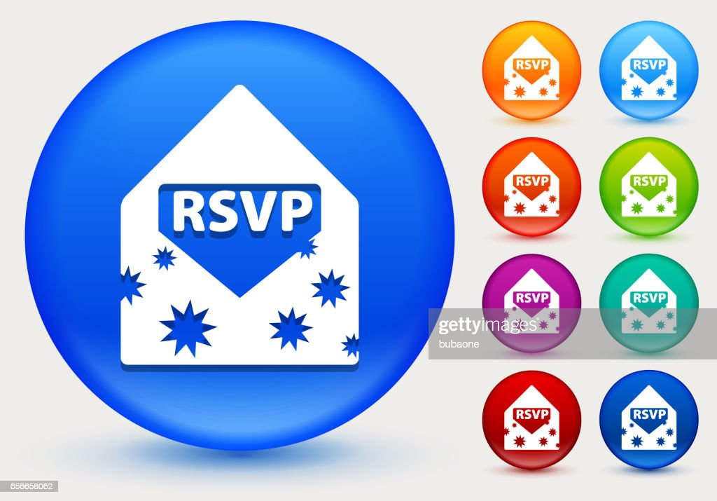 Party Invite Icon On Shiny Color Circle Buttons Vector Art Getty