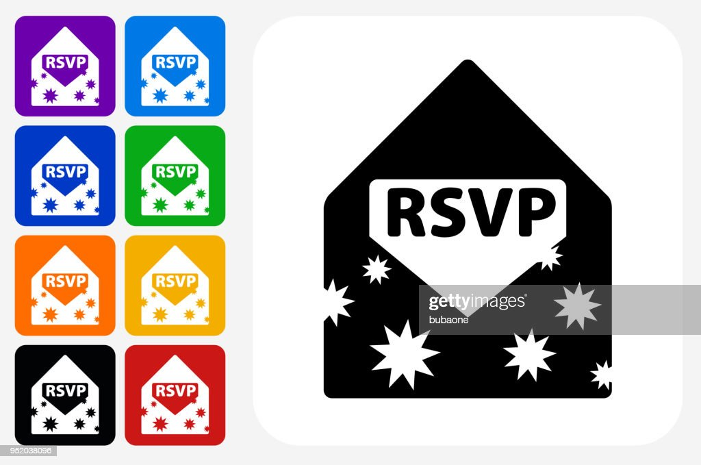 Party Invite Icon Square Button Set Vector Art Getty Images