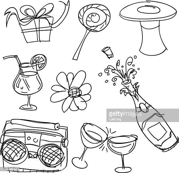 party item in black and white - champagne stock illustrations