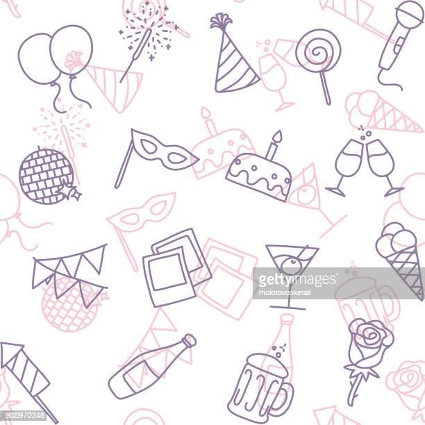 ilustrações, clipart, desenhos animados e ícones de padrão de papel de parede sem costura festa linha arte ícone - festa