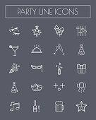 Party line icon set.