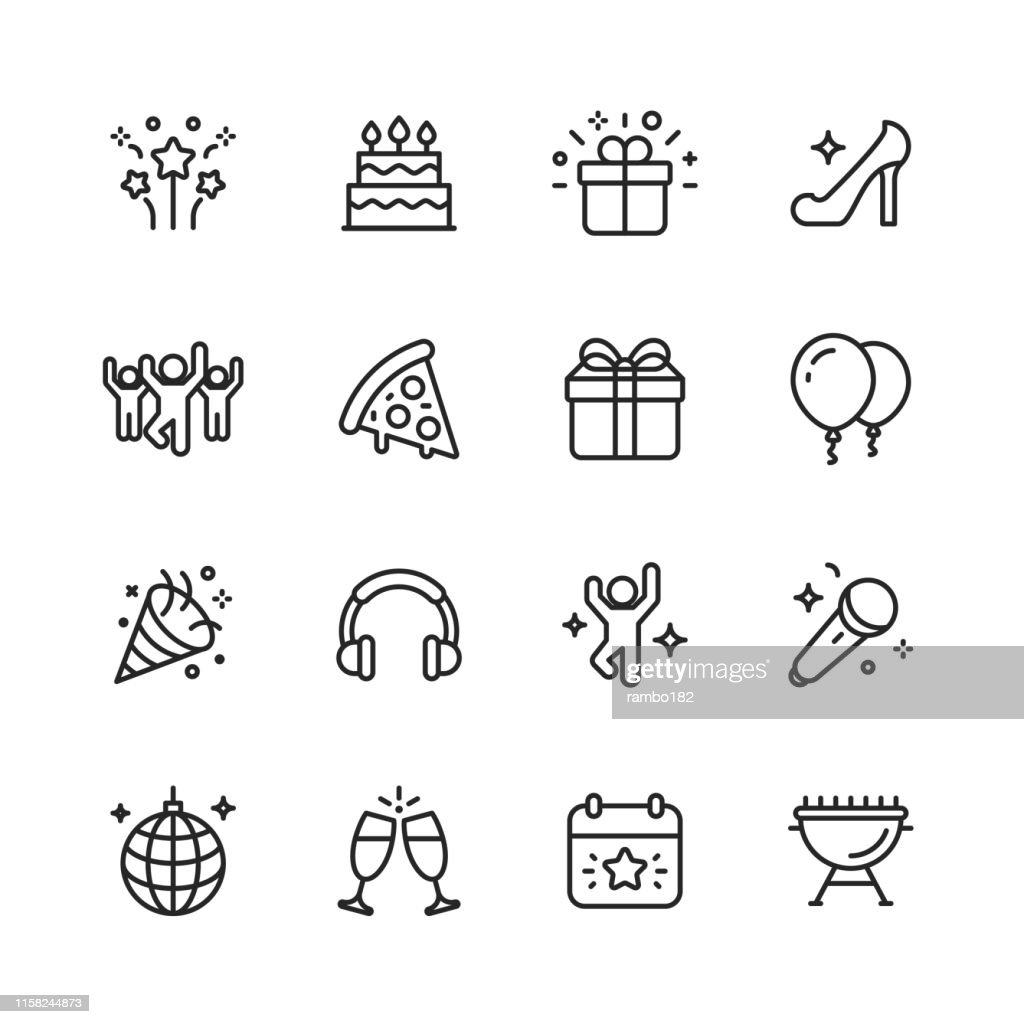 Party Line Icons. Editable Stroke. Pixel Perfect. For Mobile and Web. Contains such icons as Party, Decoration, Disco Ball, Dancing, Nightlife. : stock illustration