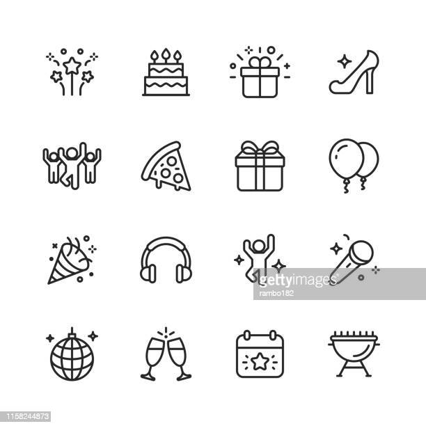 party line icons. editable stroke. pixel perfect. for mobile and web. contains such icons as party, decoration, disco ball, dancing, nightlife. - happy birthday stock illustrations