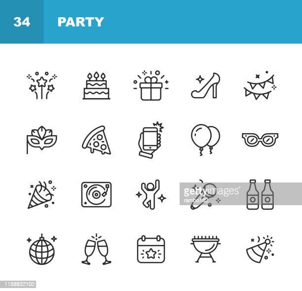 party-linie-symbole. bearbeitbarer strich. pixel perfekt. für mobile und web. enthält wie party, dekoration, disco ball, tanzen, nachtleben, selfie, fast food, bier, gläser, geschenk, kuchen. - spaß stock-grafiken, -clipart, -cartoons und -symbole