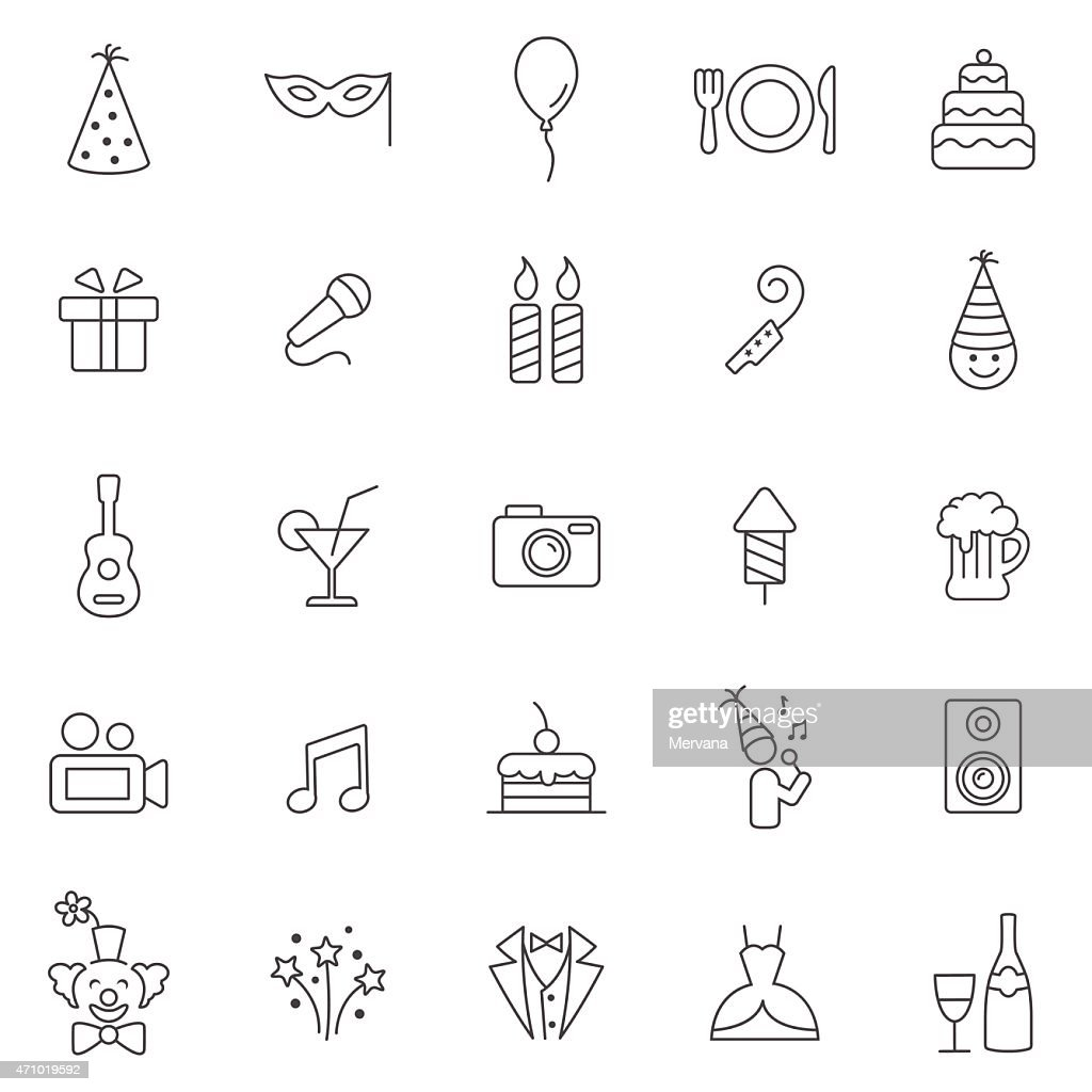 Party line icons set.Vector