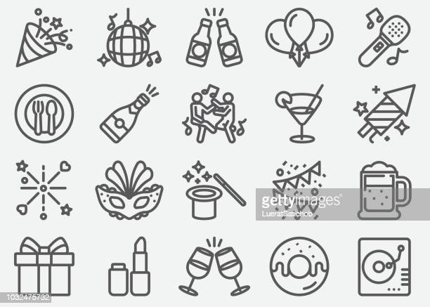 party linie icons - feiern stock-grafiken, -clipart, -cartoons und -symbole