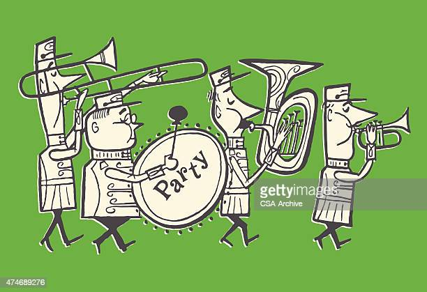 party marching band - parade stock illustrations, clip art, cartoons, & icons