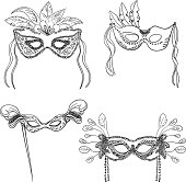 Party masks in black and white