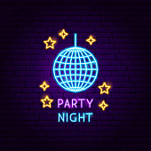 Party Night Neon Label