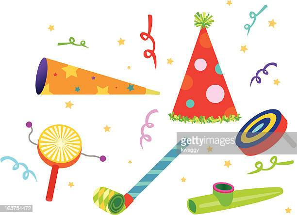 party noisemakers - hat stock illustrations