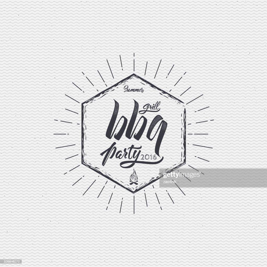 Barbecuepartyposter Aufkleber Abzeichen Und Logo Symbol