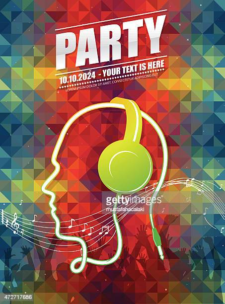dj party poster - music festival stock illustrations
