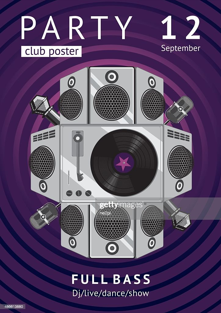 Party poster with a vinyl player