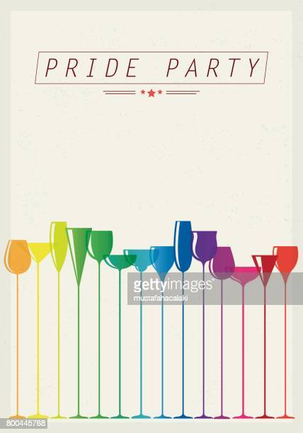 party poster with colourful drink glasses - happy hour stock illustrations, clip art, cartoons, & icons
