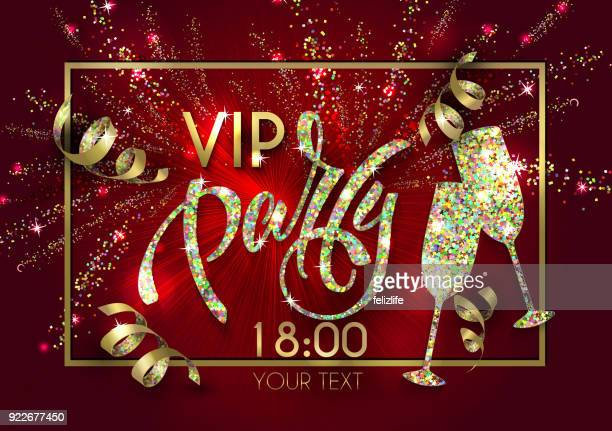 vip party poster with  lettering for your design of flyer, banner, postcard, cover, poster - celebrities stock illustrations, clip art, cartoons, & icons