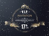VIP party premium invitation card poster  with curving ribbon